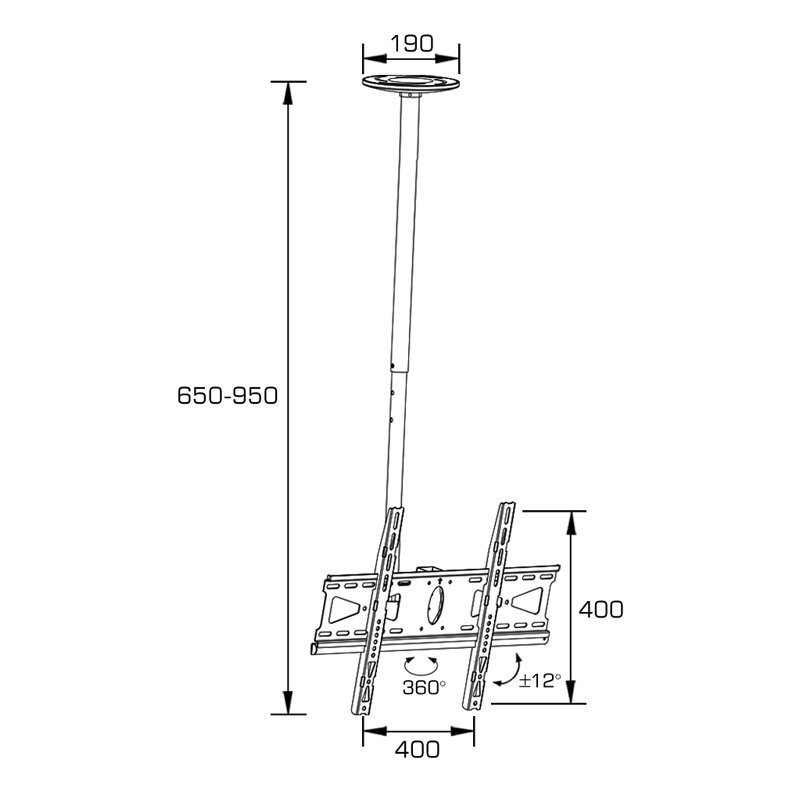Adjustable Ceiling TV Mount Fit for 21-55′′