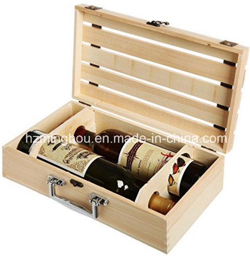 Handmade Natural Pine Wood 2 Bottle Travel Wine Box