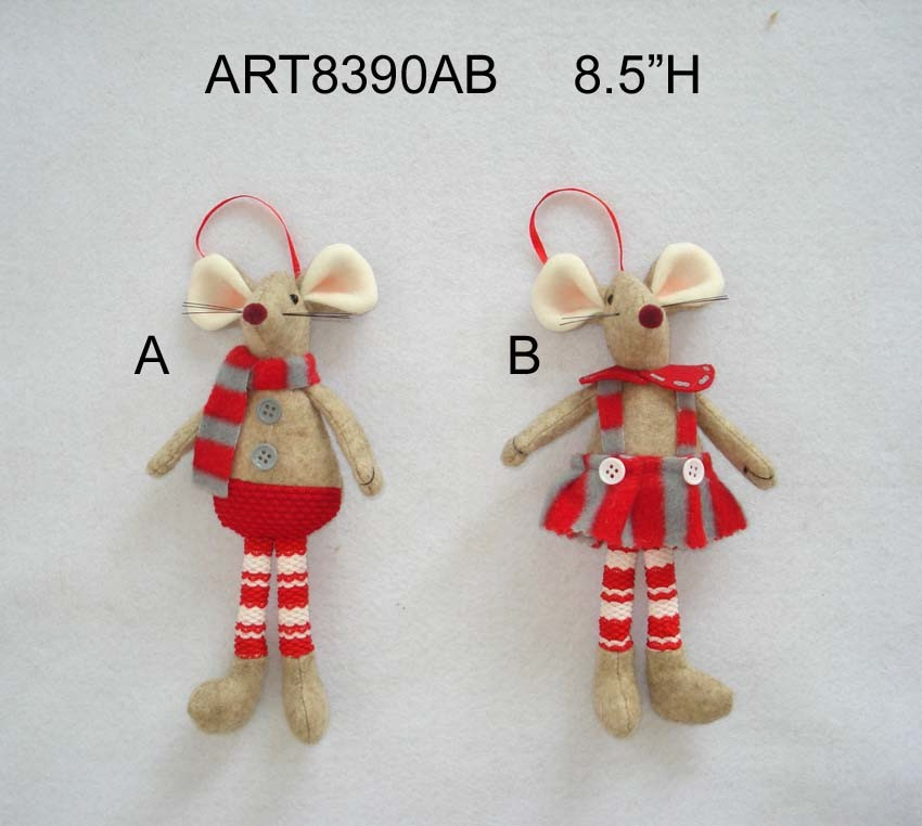 "12""H Christmas Mouse Decoration Gift Boy & Girl-2asst."