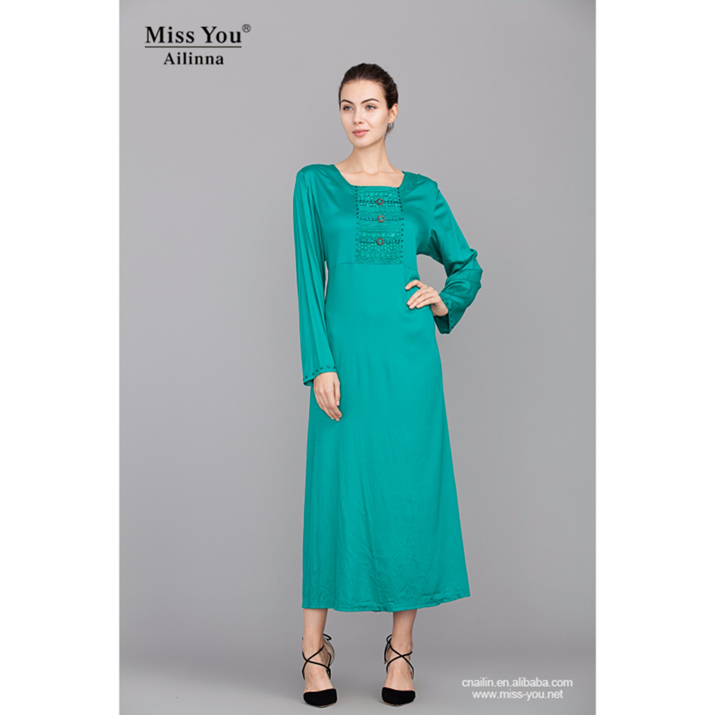 Miss You Ailinna 102589 Ladies Elegant Soft Cyan Long Dress