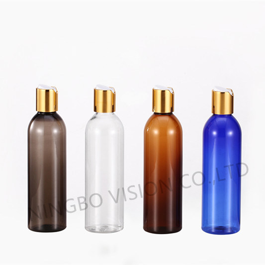 4 Oz 8oz Amber Pet Cosmo Plastic Bottle with Shine Gold Aluminum Sheet Disc Cap