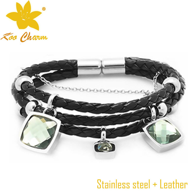 Fashion Stainless Steel with Genuine Leather Bangle