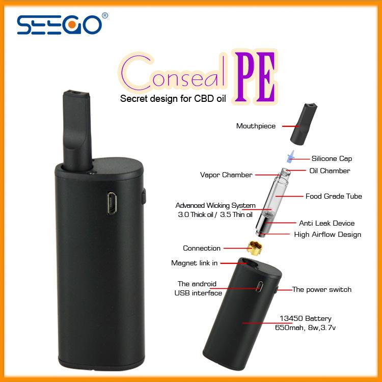 Seego 2017 Health Electronic Cigarette Vaporizer Mod Conseal PE Kit E-Cigarette for Cbd Thick Oil