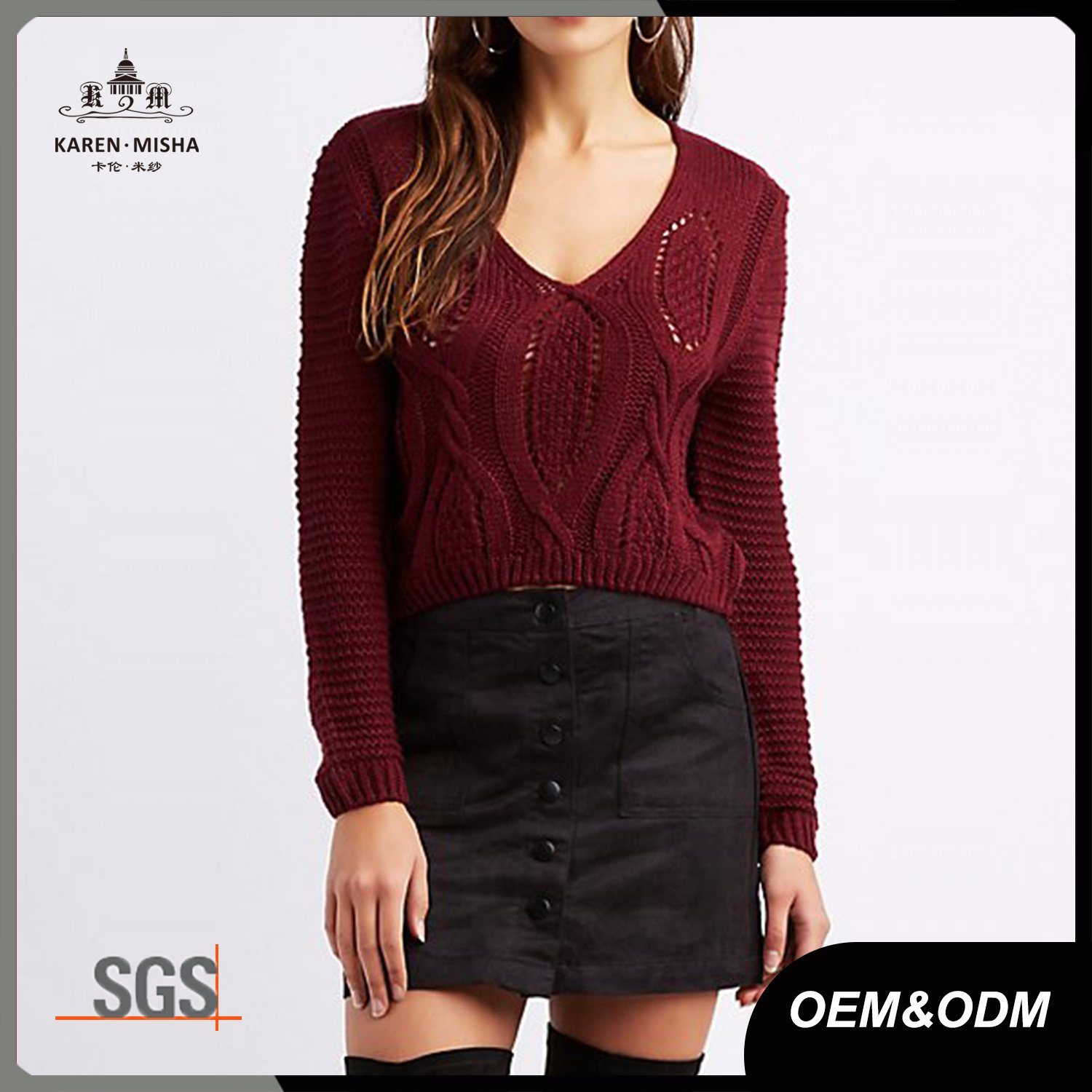 Ribbed Ladies Acrylic V Neck Cable Knit Jumper