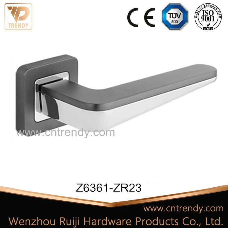 Latest Bathroom Zinc Furniture Door Lock Handle on Rose (Z6361-ZR23)