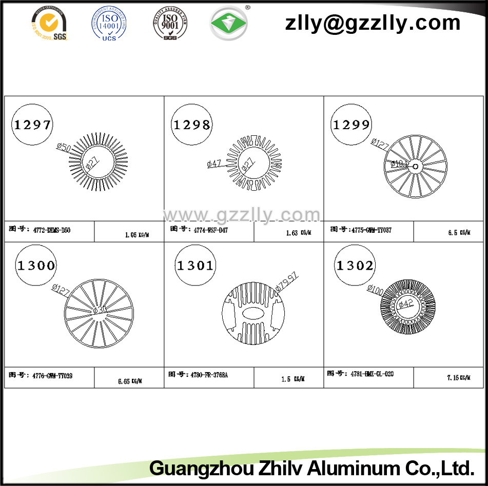 T3-T5 Aluminum Profile Aluminum Gear Shaped Heatsink