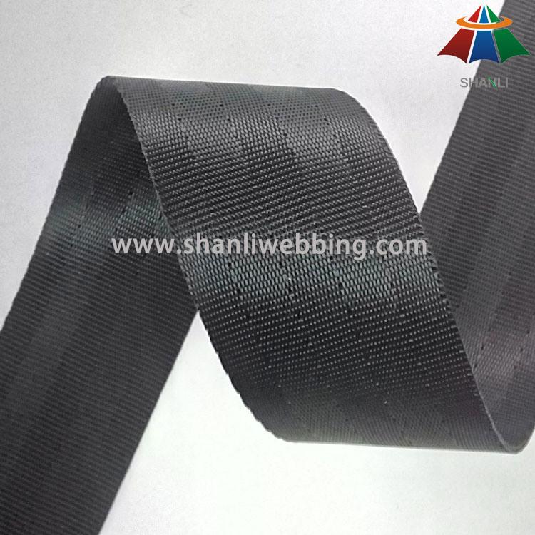1.5 Inch Black Polyester Seatbelt Webbing