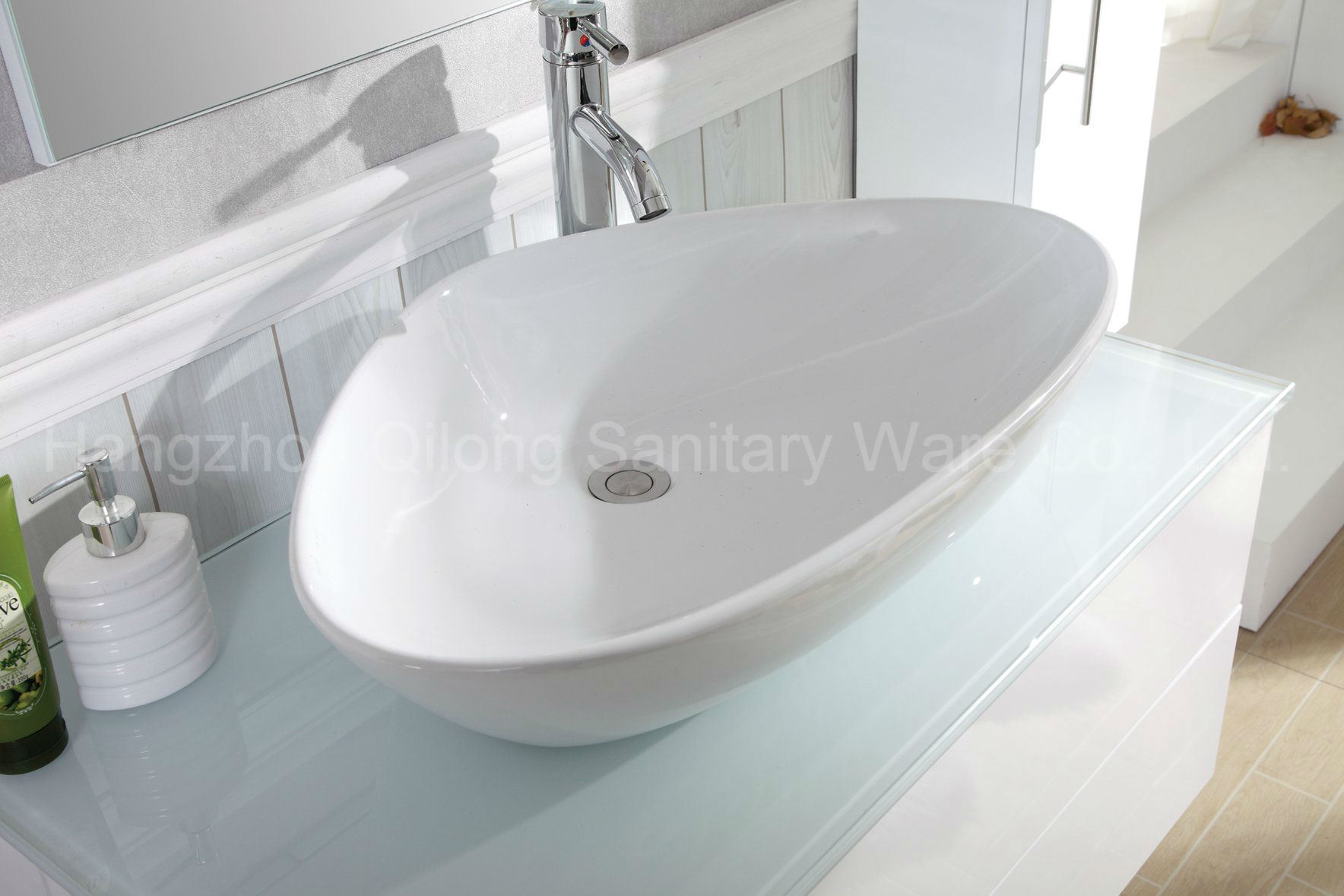 Ultrawhite Glass MDF Bathroom Vanity with Triangular Basin
