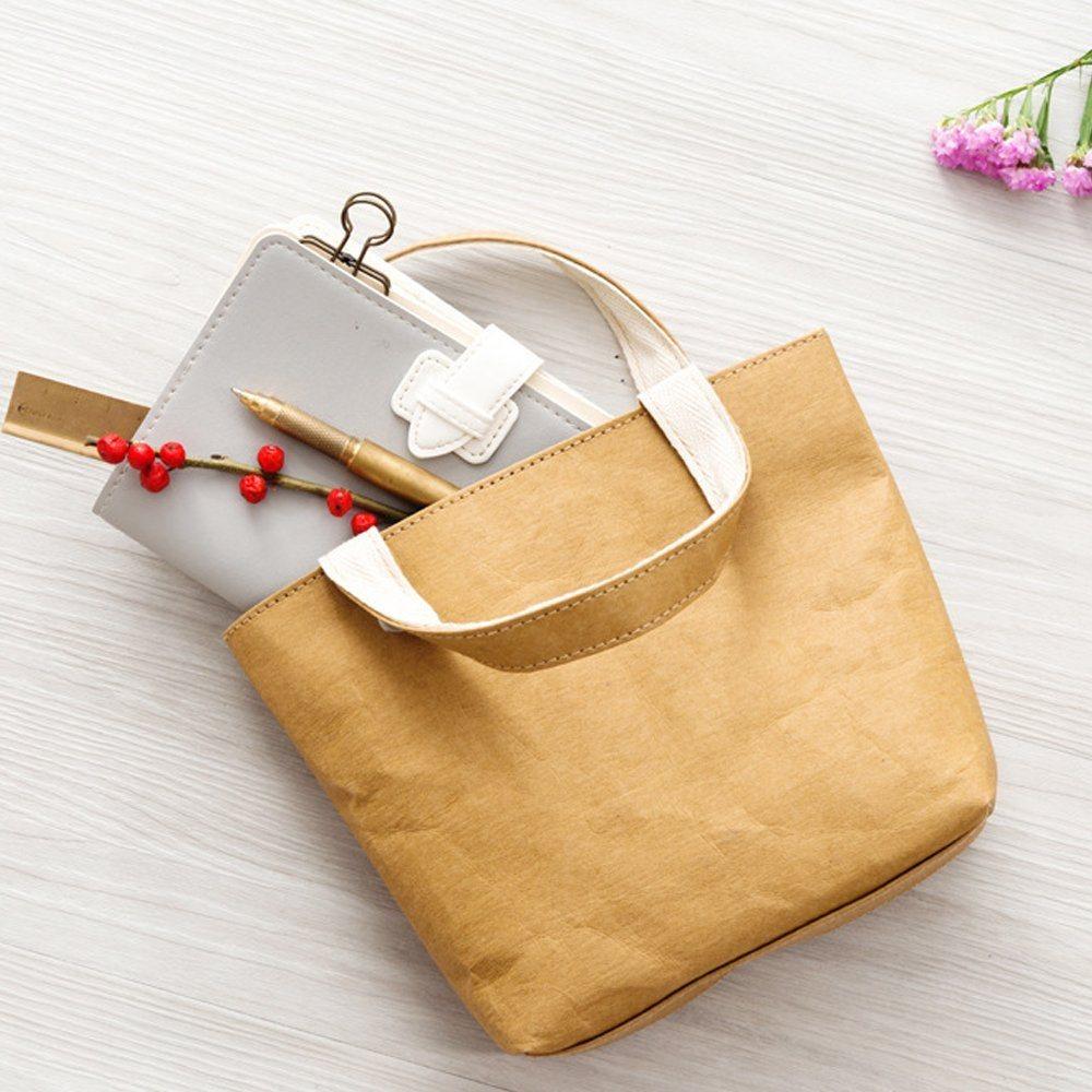 Washable Paper Bag Handbag Simple Style Reusable Kraft Shopping Bag