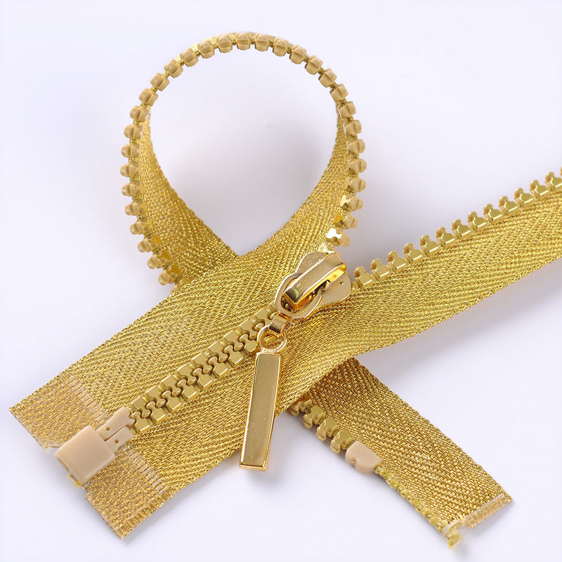 5# Golden Tape Plastic Zipper with Golden Teeth