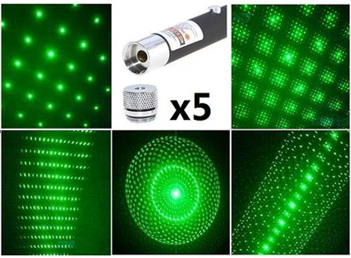 Green Laser Pointer With 5 Different Heads (QLP-G005)