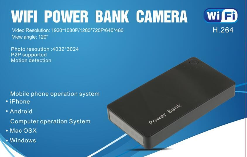HD WiFi Cameras HID in Power Bank Wireless Security Home Office Monitor