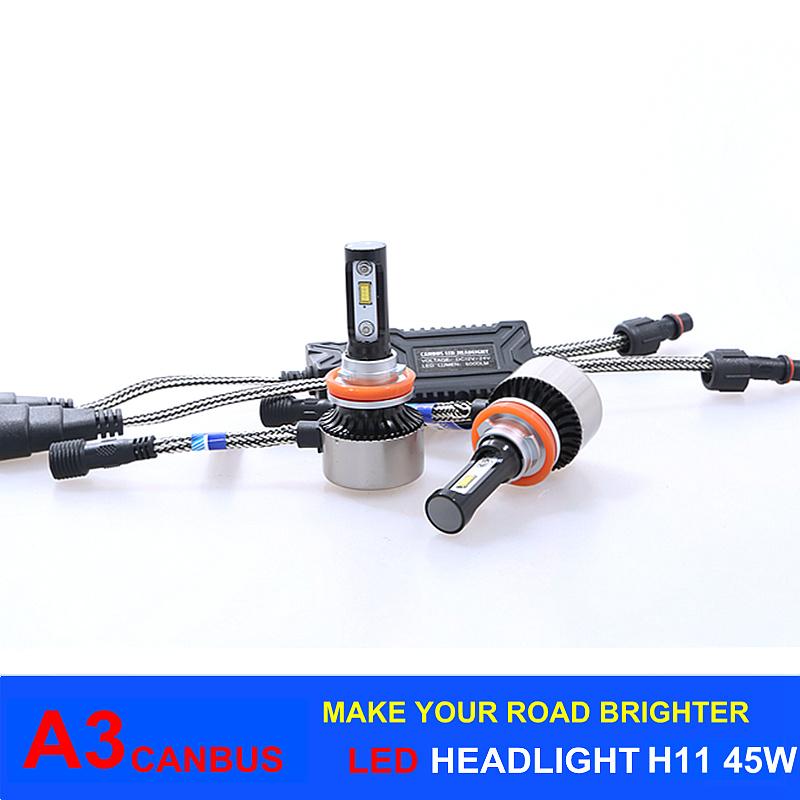 LED Lighting Bulb 45W 6000lm Canbus A3 LED Headlight H11 for Car Headlight, Fog Light