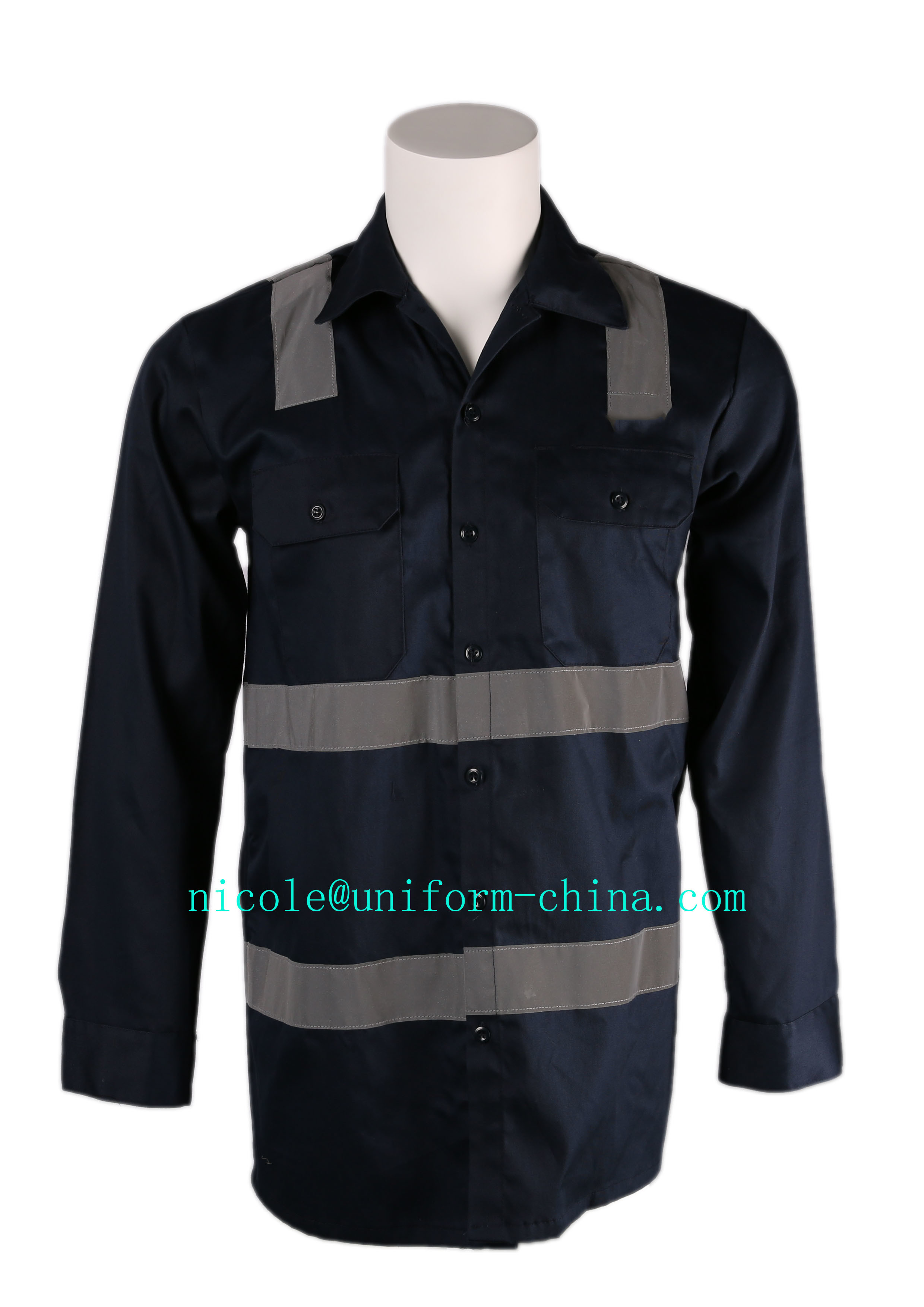 Cheap and High Quality Mens Navy Flame Resistant Mining Shirt Workwear