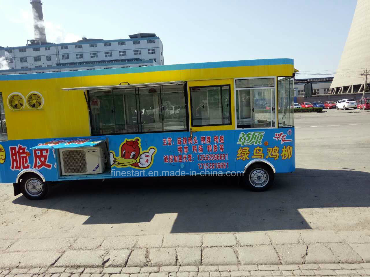 Mobile Fast Food Electric Dining Car for Making BBQ Teppanyaki Hotpot and Hotdog Hamburgar