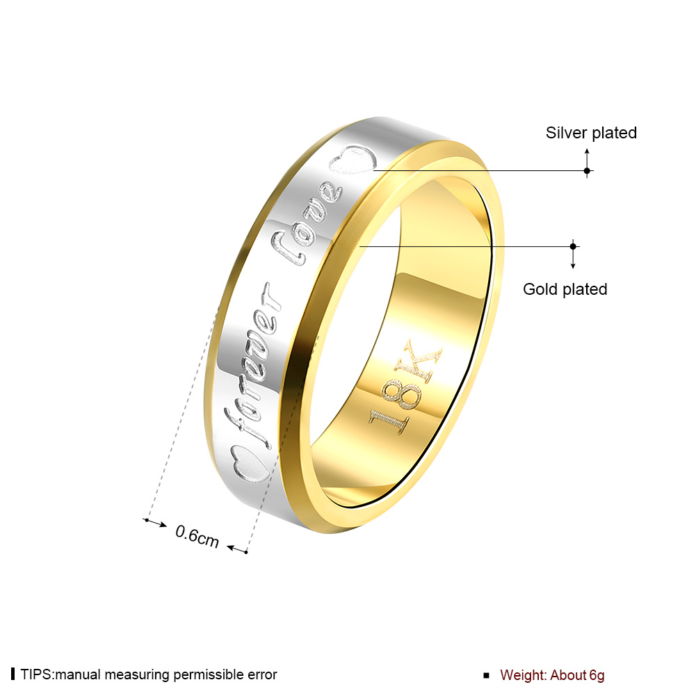 2017 Fashion Jewelry Simple Double Color Forever Love Stainless Steel Ring for Men