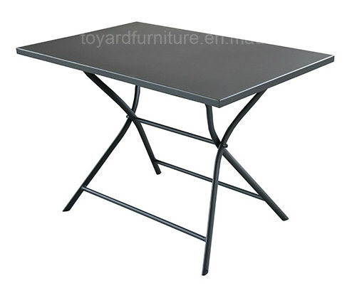 Best Sell Patio Leisure Products Metal Folding Table with Stone Top Brown Finish for Outdoor Camping Deck