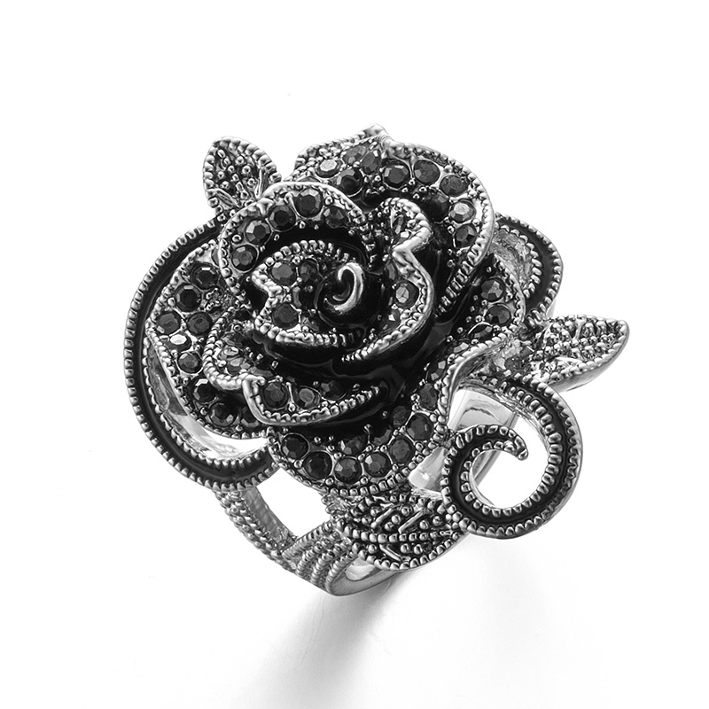 VAGULA Vintage Black Rhinestone Rose Flower Silver Women′s Ring
