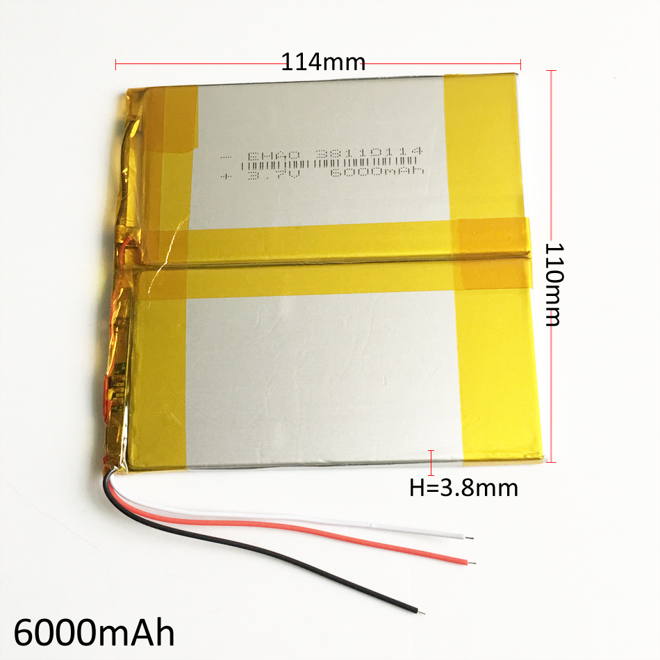 38110114 3.7V 6000mAh Lithium Polymer Battery for Pad GPS PSP DVD Power Bank Nootbook Laptop