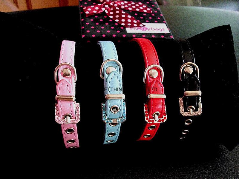 Crystal/ Rhinestone Bow Dog Collar, Diamond Bling Pet Collar, Pet Products