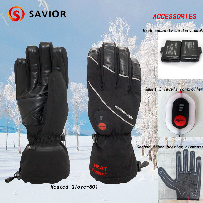 Savior Winter Waterproof Heated Ski Glove for Sking, Outdoor Sporting, Electric Heating Gloves Snow Glove, 3 Levels Smart Control