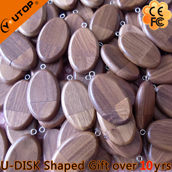 Hot Oval Walnut Wood USB Flash Drive Promotion Gift (YT-8119)