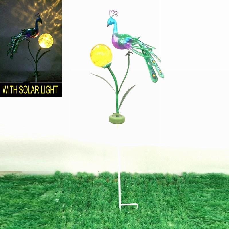 Beautiful Garden Solar Lighted Decoration Metal Peacock Stake