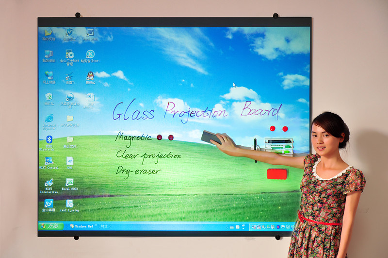 Office Supply Magnetic Glass Projection Screen Board