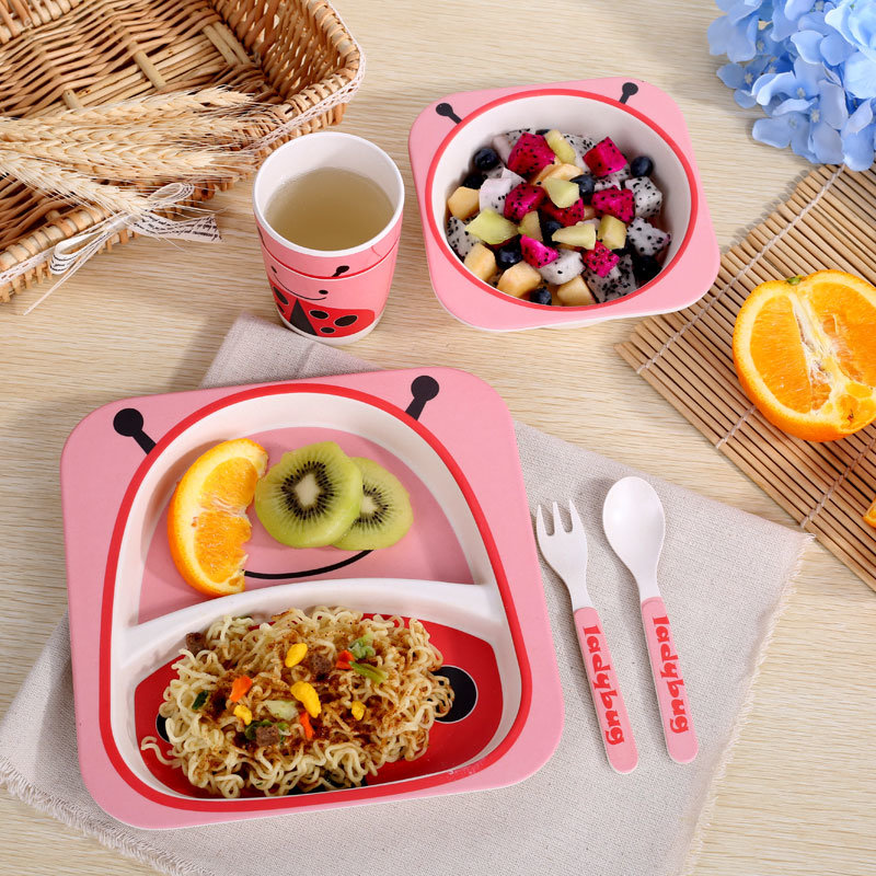 Eco-Friendly New Design Biodegradable Bamboo Fibre Cute Square Kids Tableware (YK-BS1002)