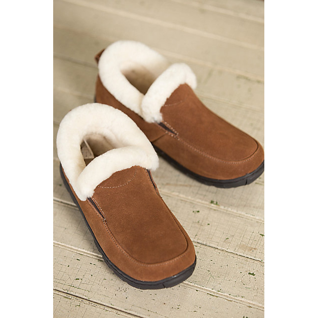 Women′s Shearling-Lined Suede Slipper Shoes