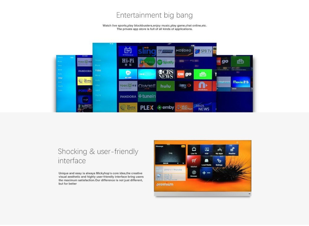 Ipremium IPTV Box Dual OS Mickyhop and Android 6.0 Box Ott IPTV