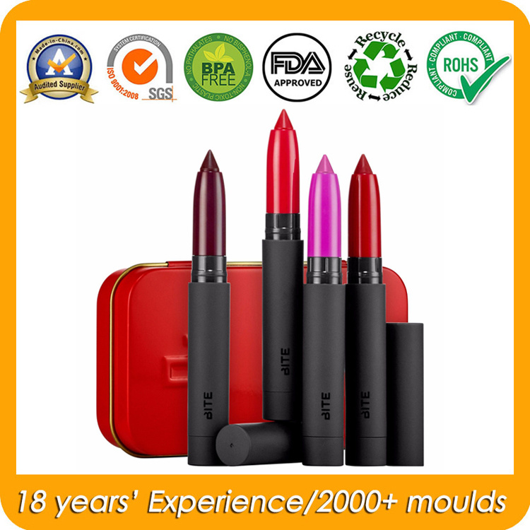 Hinged Cosmetic Tin Box for Lipstick Lip Balm Container