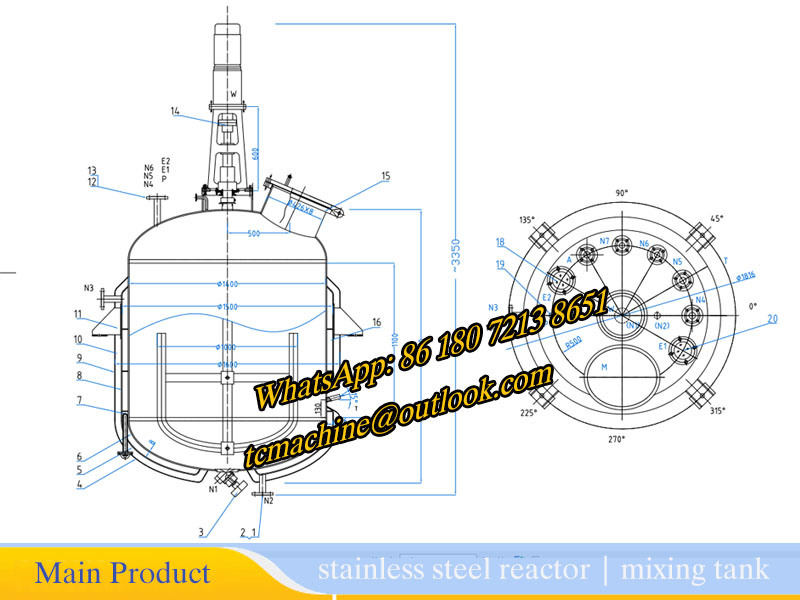 Chemical Reactor 500L Reaction Tank with Agitator
