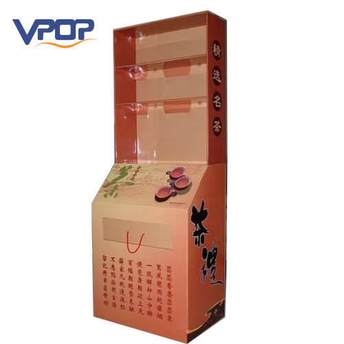 Cardboard Display Tea Bag Floor Pop Shelf Stand Display