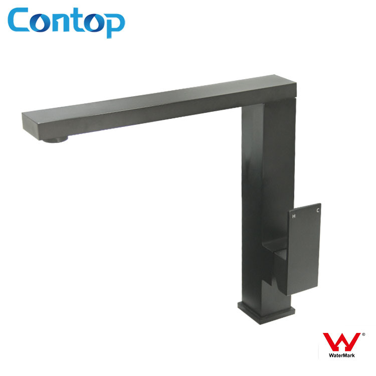 Square Body Watermark Approval Black Matt Finished Kitchen Faucet