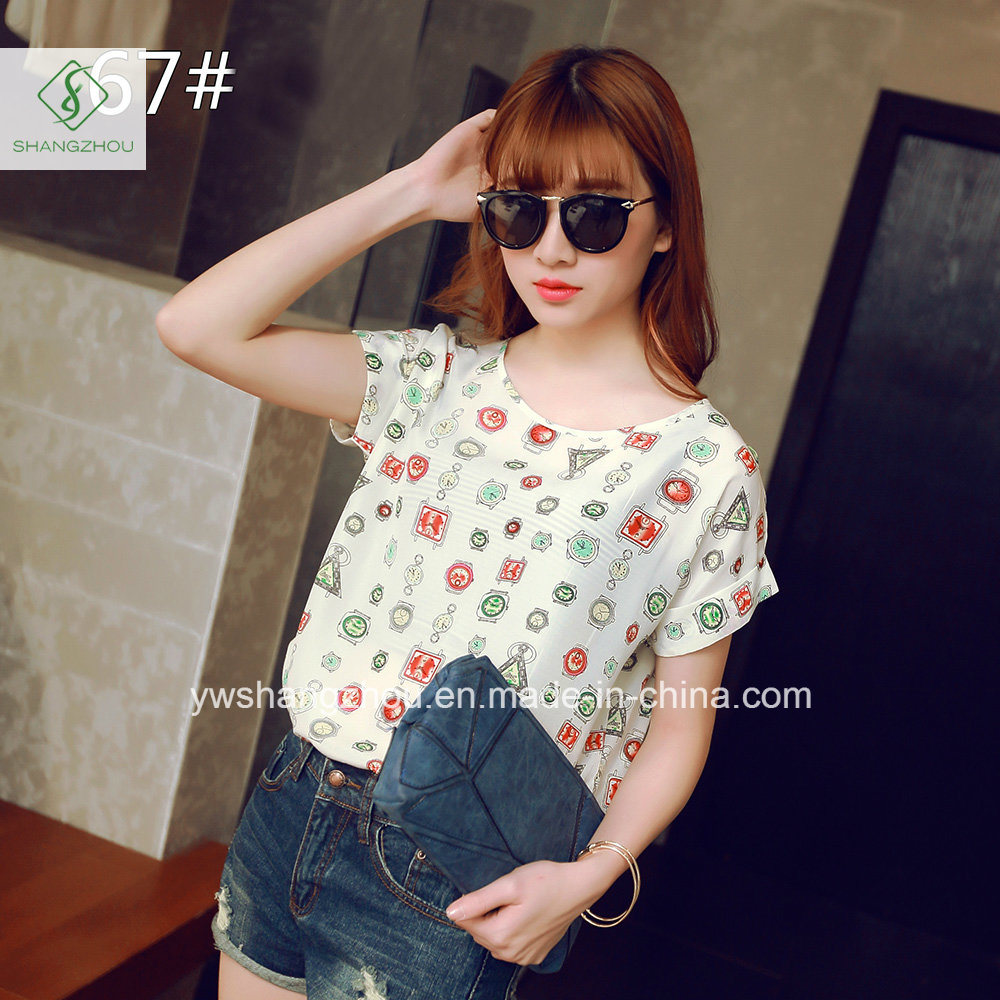 Fashion Cheaper Lady Chiffon Blouse Women T-Shirts Factory Gift
