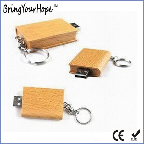 Book Shape USB Flash Disk in Wood Material (XH-USB-016)