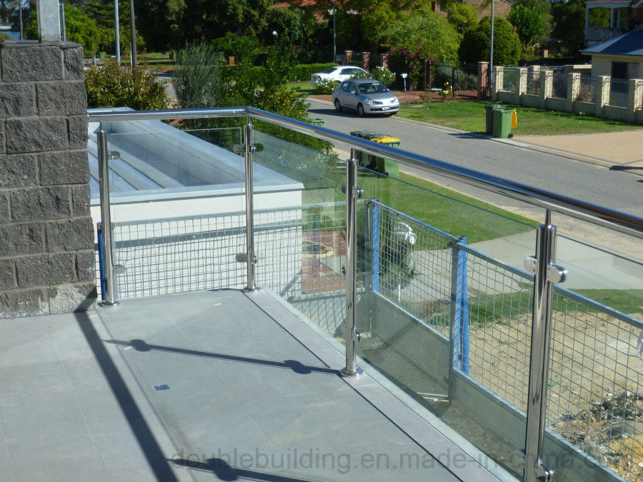 Stainless Steel Balcony Glass Balustrade, Glass Fence, Semi Post Stair Glass Railing