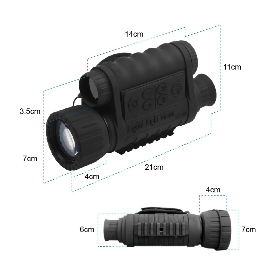 6X50 Digital Infrared Night Vision Monocular with 1.5′′ TFT LCD 500MP Photo & 720p Video