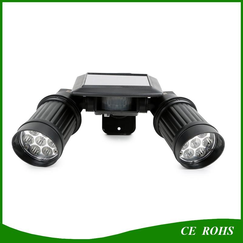 Angle Adjustable Dual Head LED Montion Sensor Solar Spotlight Solar Powered Outdoor Wall Light for Gate Garage