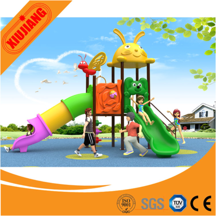 Xj2016 New design Outdoor Playground Plastic Slide with Swing for Children