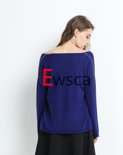 Women Long Sleeves Pure Cashmere Knitwear with Sequins