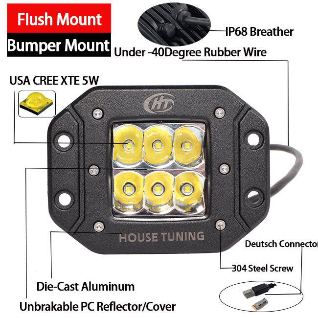 Bumper Flush Mount LED Lights (30W, 3X3X3inch, Driving Beam, IP68 Waterproof)