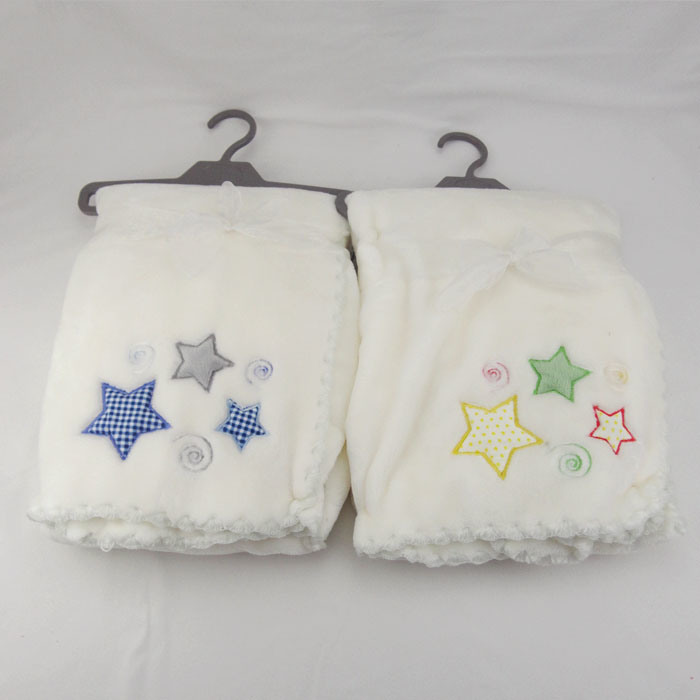Flannel Baby Blanket with Embroidery Soft Handfeel Whip Stitched Edge