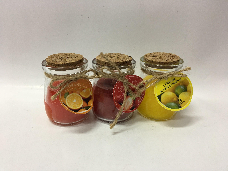 Orange Lemon Strawberry Scent Designed Glass Jar Candle for Holiday Gift.