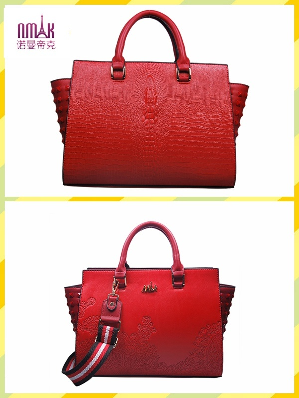 Embroidery Patterns Crocodile Texture Leather Satchel Tote Shoulder Bags (F54)