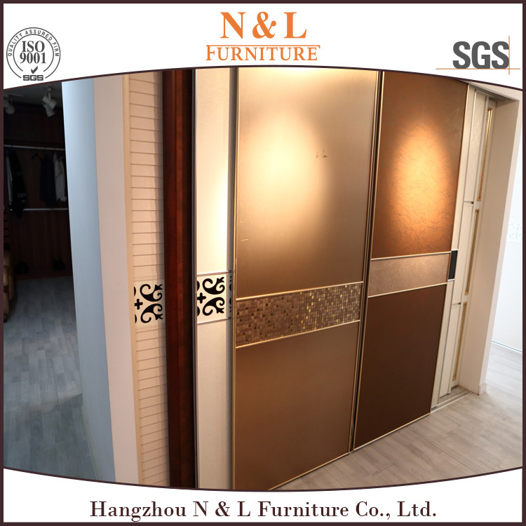 N&L Sliding Door Plyyood Wooden Bedroom Wardrobe with Melamine