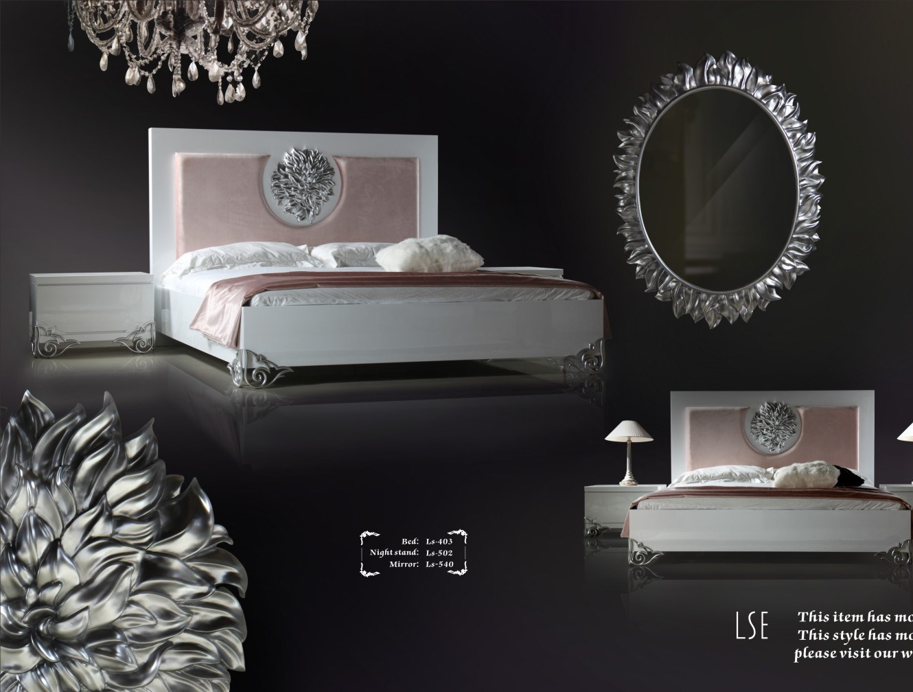 New Classic Style Bedroom Furniture Bed With Flower Decoration Ls 403