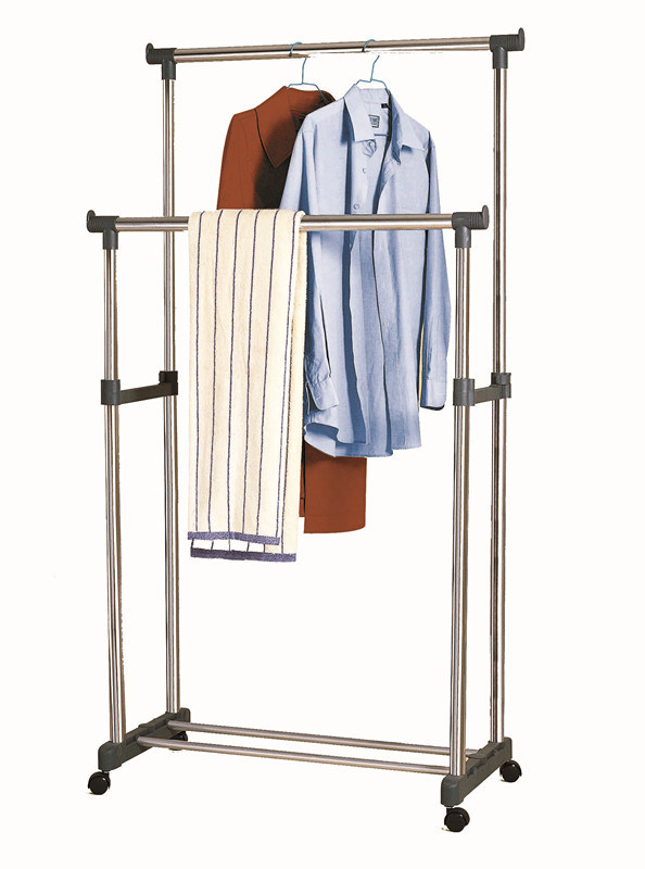 Chrome Double Rod Extendable Clothes Rack Garment Drying