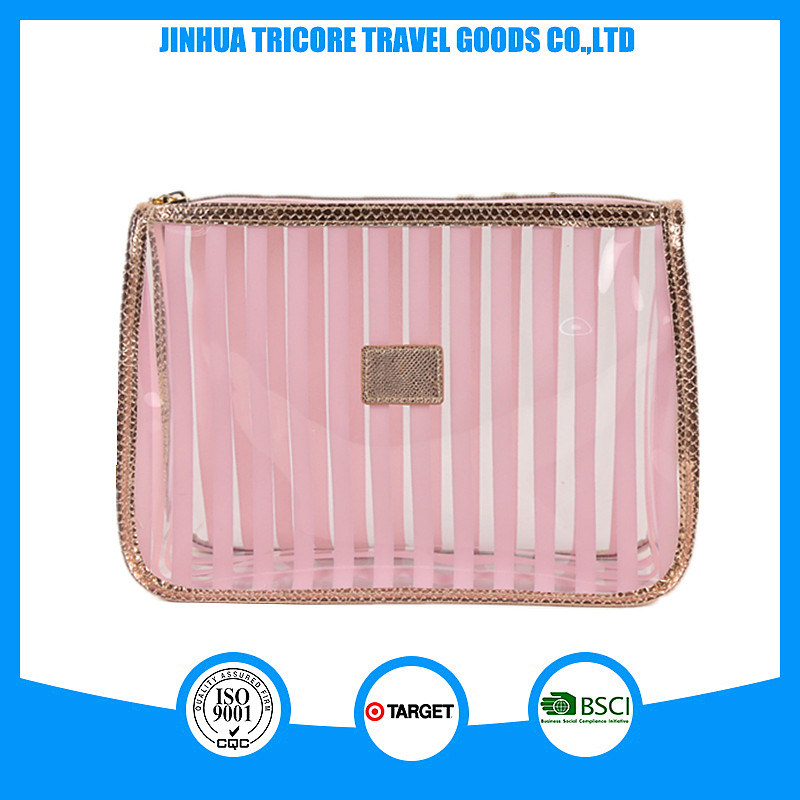 Striped Transparent PVC Waterproof Cosmetic Bag